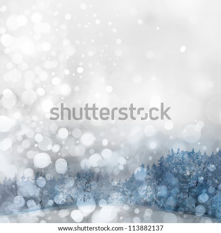 Lights on grey background with forest down