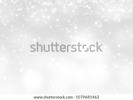 Lights on white silver background abstract beautiful blink light with bokeh bright winter and christmas decoration design blur backdrop luxury