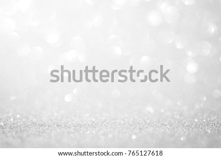 Lights on white silver background abstract beautiful blink light with bokeh bright winter and christmas decoration design blur backdrop luxury  #765127618