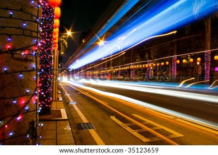 Lights stream in city #35123659