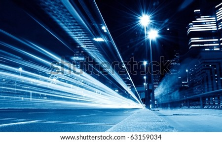 lights trails from cars in business center