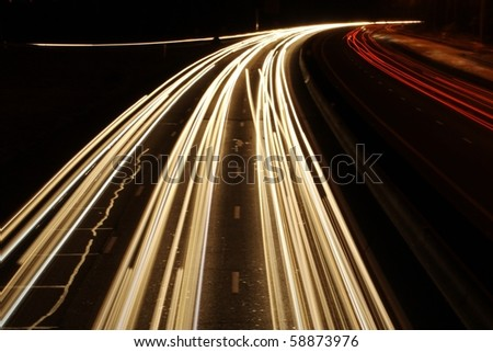 lights trails from cars  in france