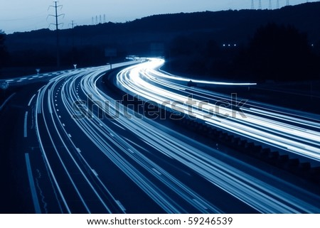 lights trails of cars in france