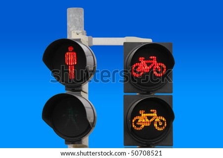lights with symbols of pedestrians and cyclists