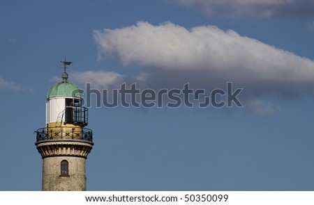 Lighttower of Warnem�¼nde (Germany) with copy space