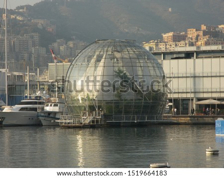LIGURIA, ITALY, July 2018: touristic trip. This is the famous glass bubble of Renzo Piano #1519664183