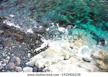 ligurian cerulean sea and rocks in spring #1410406238