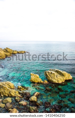 ligurian cerulean sea and rocks in spring #1410406250