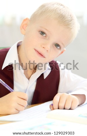 Liitle schoolboy in Ukrainian school