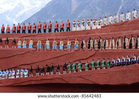 "LIJIANG, CHINA - APRIL 14:Actors participate in ""Impression Lijiang"" live performance on April 14, 2009 at The Jade dragon snow mountain in Lijiang, China."