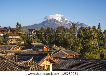 Lijiang old town in the morning, the UNESCO world heritage in Yunnan province, China. - stock photo