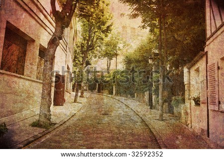 Like an old Japanese print. Several of my photos worked together to make a dreamlike retro look. Alley Montmartre, Paris.