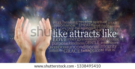 Like Attracts Like so keep your thoughts high frequency  - outstretched female hands with the words LIKE ATTRACTS LIKE  beside surrounded by a word cloud on a cosmic celestial background  #1338495410