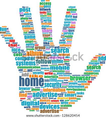 Like hand symbol with tag cloud of social word, raster