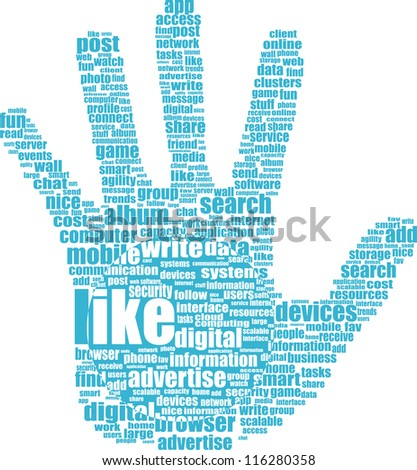 Like hand symbol with tag cloud of word. raster