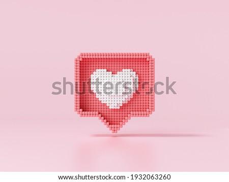 Like heart icon on a pink background. Pixel art Like symbol for social media concept. 3d render illustration