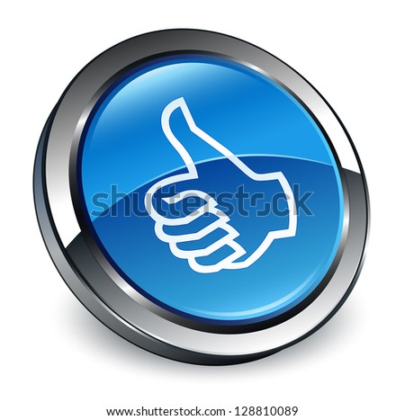 Like icon 3d blue button