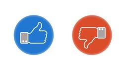 Like icon. Hand like. Thumb up. Dislike icon. Thumb down. Social media. OK sign. Like symbol. Achievement badge. Quality mark.