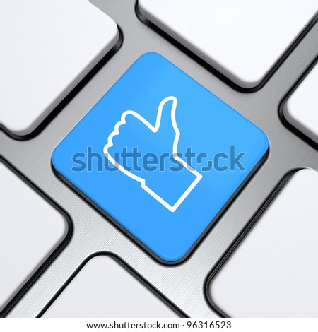 like icon on a button keyboard, 3d render