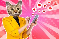 Like icons near person. Cat woman is using phone. Like concept in social networks. Catwoman puts Like someone. Catwoman in business yellow jacket. Creative portrait manager.