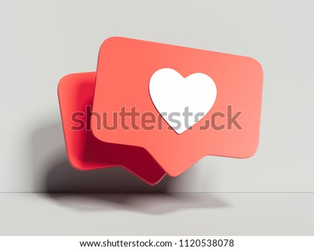 Like icons on white background, 3d rendering