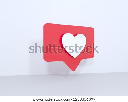 Like icons on white background, 3d rendering. illustration