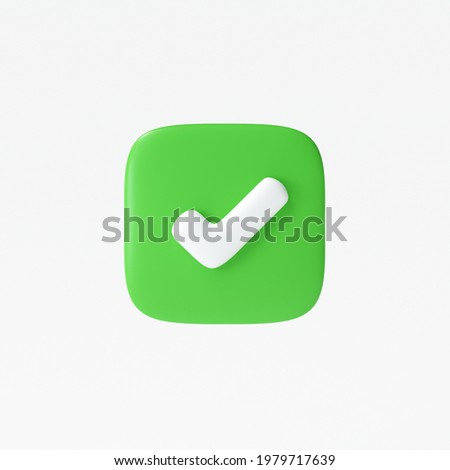 Like or correct symbol icon isolated white background, checkmark button, mobile app icon. 3d render illustration Photo stock ©