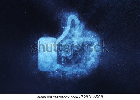 Like sign, Like symbol. Abstract night sky background