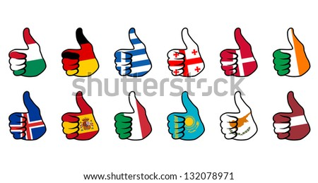 like symbol with flag of european countries
