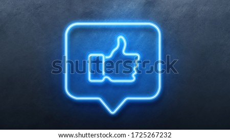 Like thumb up Icon in convesation Neon animation. Light Glowing blue Bright Symbol with Dark Background.