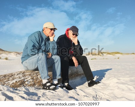 Like two bumps on a log, two older men contemplate the future during a day at the beach.