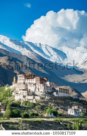 Liker Gompa Monastery, in the Himalyan foothills with mountain and sky background in Leh - Ladakh northern of India