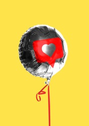 Likes. Social network's addiction. Dose of internet's love or drug. Silver balloon with sign of like in centre with the red tape against yellow background. Modern design. Contemporary art collage.