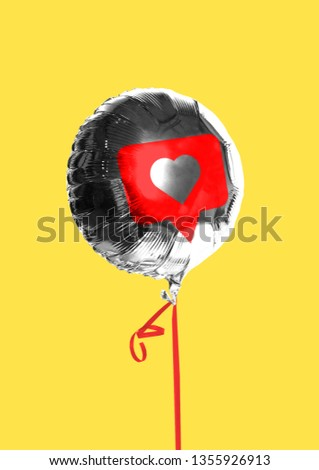 Likes. Social network's addiction. Dose of internet's love or drug. Silver balloon with sign of like in centre with the red tape against yellow background. Modern design. Contemporary art collage. #1355926913