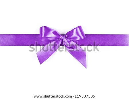 lilac bow on a white background