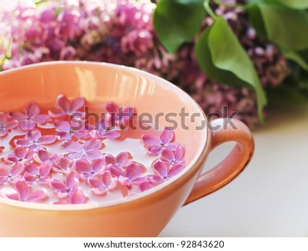 lilac flowers floating in the cup of water