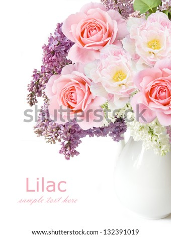 Lilac flowers, roses and tulips bunch in vase isolated on white background - stock photo