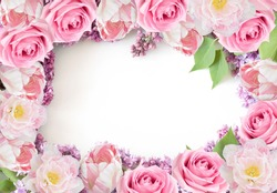 Lilac, roses and tulips background isolated on white