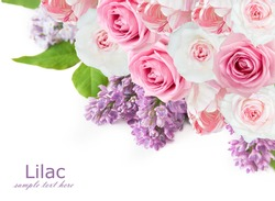 Lilac,roses and tulips flowers background isolated on white with sample text