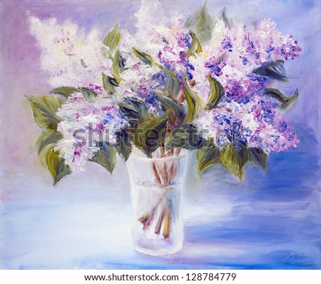 Lilacs in a Vase, oil painting on canvas