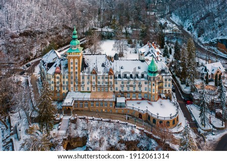 Lillafüred, Hungary - Aerial view of the famous historical Palace covered by snow near lake Hámori. Amazing winter panorama. Stock fotó ©