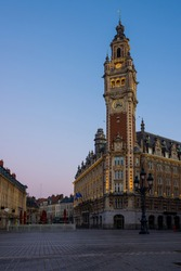 Lille, sunrise over the belfry, French flanders