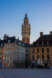 Lille, the belfry of chamber of commerce view from the grand place, French flanders