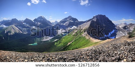 Lillian Lake and Lower and Upper Galatea Lakes. Kananaskis Park, Alberta, Canada. As view from 20 minute hike up from Guinn Pass.