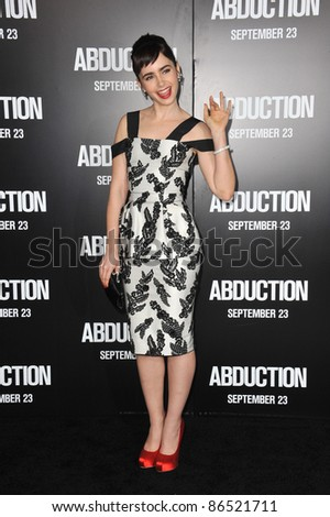 "Lily Collins at the world premiere of her new movie ""Abduction"" at Grauman's Chinese Theatre, Hollywood. September 15, 2011  Los Angeles, CA Picture: Paul Smith / Featureflash"