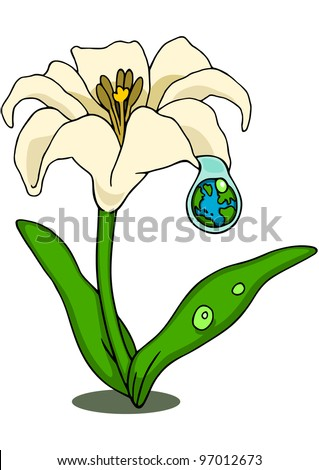 Lily flower with a droplet that reflects the earth, symbolizing hope or new life.