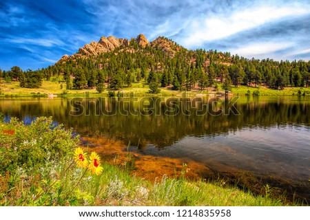 Lily Lake Reflection near Estes Park, Colorado Photo stock ©