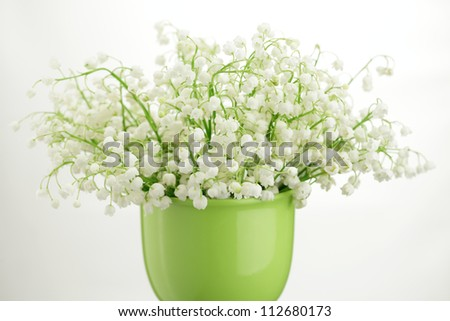 Lily-of-the-valley posy in a vase isolated on white background - stock photo