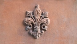 lily symbol of Florence Tuscany printed on a old terracotta tile