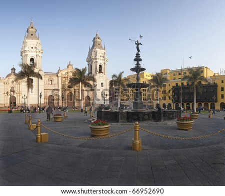 Lima, main square, pool and cathedral church.